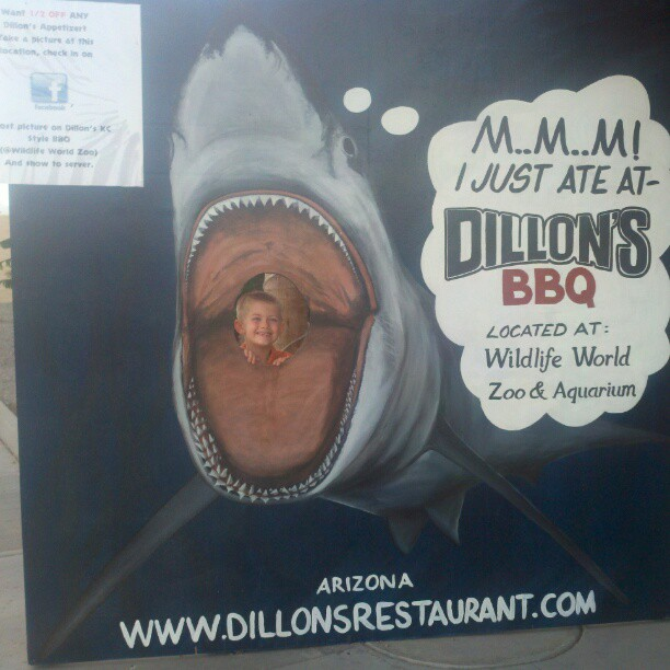 Xavier in front of Dillons BBQ
