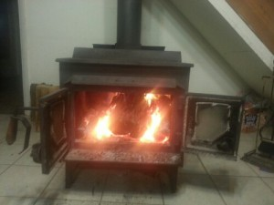 Our heat for our house is this beautiful wood stove!